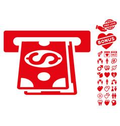 cash machine icon with valentine bonus vector image