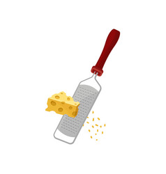 Cheese grater small chips in hand vector
