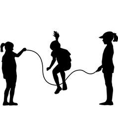 Children silhouettes jumping rope vector