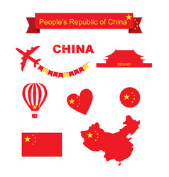 China set flag and map vector