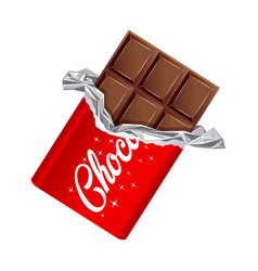 chocolate bar in opened red wrapped and foil vector image