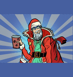 close-up hipster santa claus with a cup coffee vector image