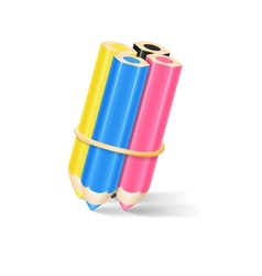 Cmyk pencils with rubber band vector