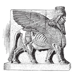 Colossal man-beast from palace sargon vector
