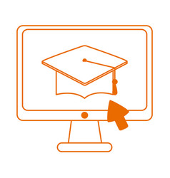 Computer click graduation hat home education line vector