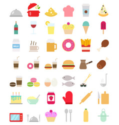 Cooking foods icons set in flat style vector