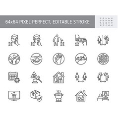 coronavirus prevention line icons vector image