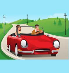 Couple riding a convertible car vector