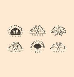 cuisine symbol or logo cooking restaurant food vector image
