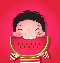 Cute boy eating watermelon vector