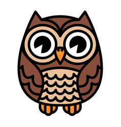 cute cartoon owl bird with big eyes in sitting vector image