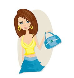 Cute girl with bag vector image