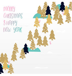 cute gold christmas trees on white background vector image