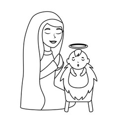 cute virgin mary with jesus baby characters vector image