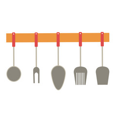 cutlery hanging on wooden shelf kitchen decor vector image