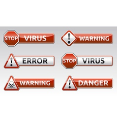 Danger virus warning icon vector image