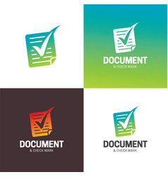 Document and check mark logo and icon vector