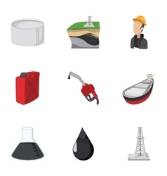 Fuel icons set cartoon style vector