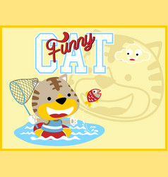 funny cat cartoon with fishing net vector image