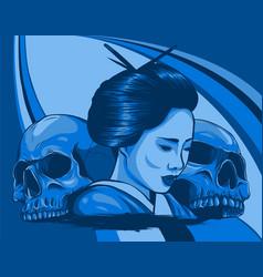 geisha with skulls beautiful japanese girl vector image