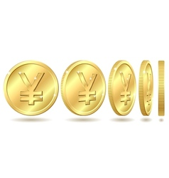 Golden coin with yen sign vector image