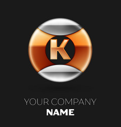 golden letter k logo in silver-golden circle vector image