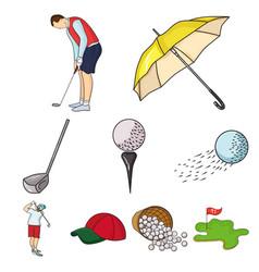 Golf club set icons in cartoon style big vector