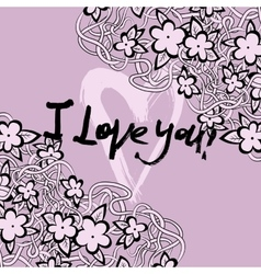 Grunge valentine card with hand drawn text vector image