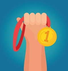 Hand holding golden medal champion prize winner vector image