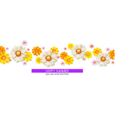 happy summer floral abstract pattern with bud vector image