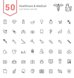 Healthcare and Medical Line Icon Set vector