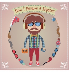 Hipster boy poster vector image