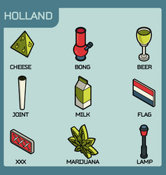 holland color outline isometric icons vector image