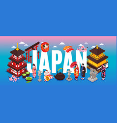 japan travel text composition vector image