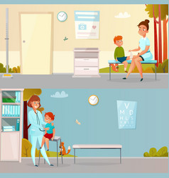 Kid visits doctor cartoon banners vector