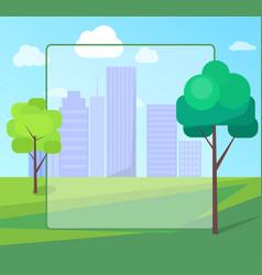 landscape scenery of city park with green trees vector image