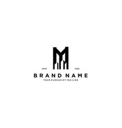 Letter m and build logo design vector