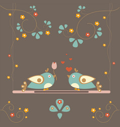 love bird tree card for valentine day vector image