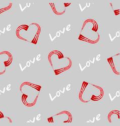 love print grunge heart shape frame with brush vector image