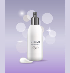 Night cream with vitamin a in bottle promo poser vector