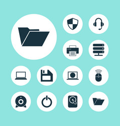 Notebook icons set collection of printing machine vector