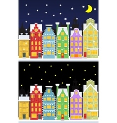 Old snow covered city street under snowfall vector image