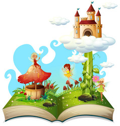 Open book fairy tale theme vector