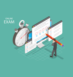 Personal online exam isometric flat concept vector
