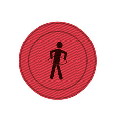 Pink circular frame with training in hula hoop vector