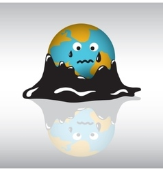 Planet earth sadness crisis oil vector