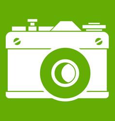 retro camera icon green vector image