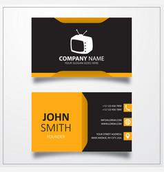 Retro tv icon business card template vector