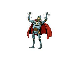 Robot superhero in a heroic pose vector