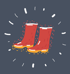 rubber boots on dark background vector image